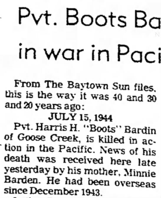 The Baytown Sun15 July 1984 - Pvt. Boots in war in From The Baytown Sun files...