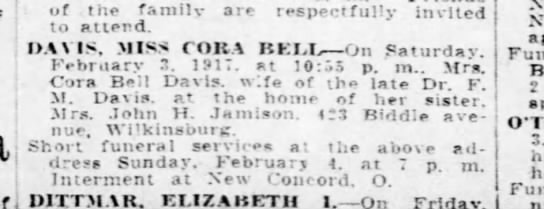Cora Bell Davis Obituary - j of the family are respectfully invited to...