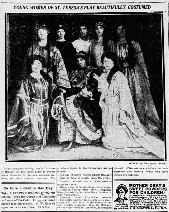 Feb 3, 1914 play cast and picture - YOUNG WOMEN OF ST. TERESA'S FLAY BEAUTIFULLY...