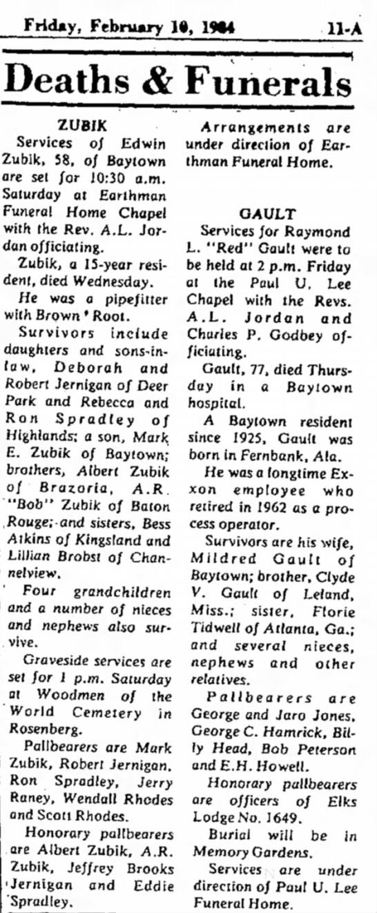 Edwin Zubik Funeral Service Baytown Sun - 10Feb1984 - Friday, February 1», 1*4 Deaths & Funerals...