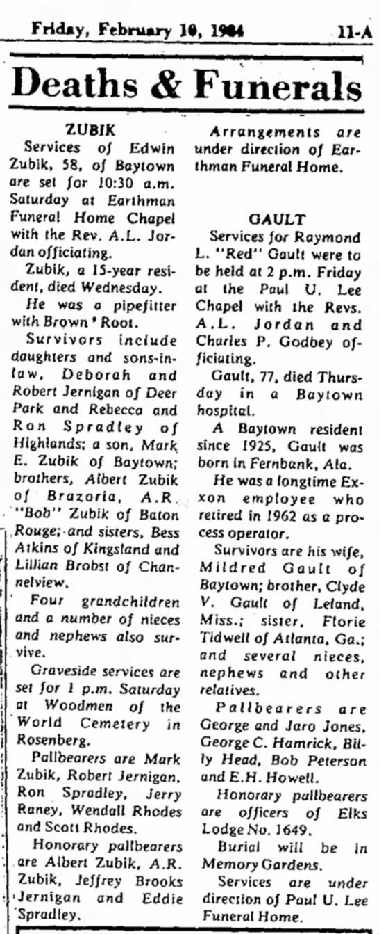 Ed Zubik Funeral Announcement - Friday, February 1», 1*4 Deaths & Funerals...