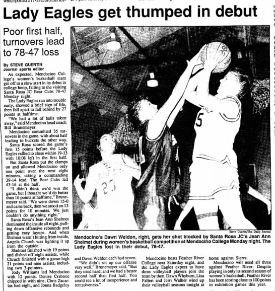Jean Ann Shelmet - California, possible relative? - Lady Eagles get thumped in debut Poor first...