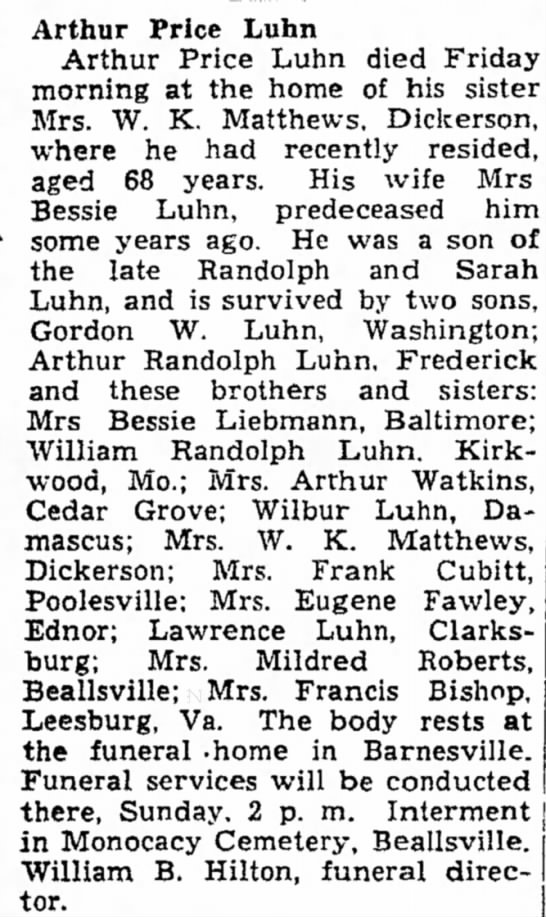 arthur price luhn - Arthur Price Luhn Arthur Price Luhn died Friday...