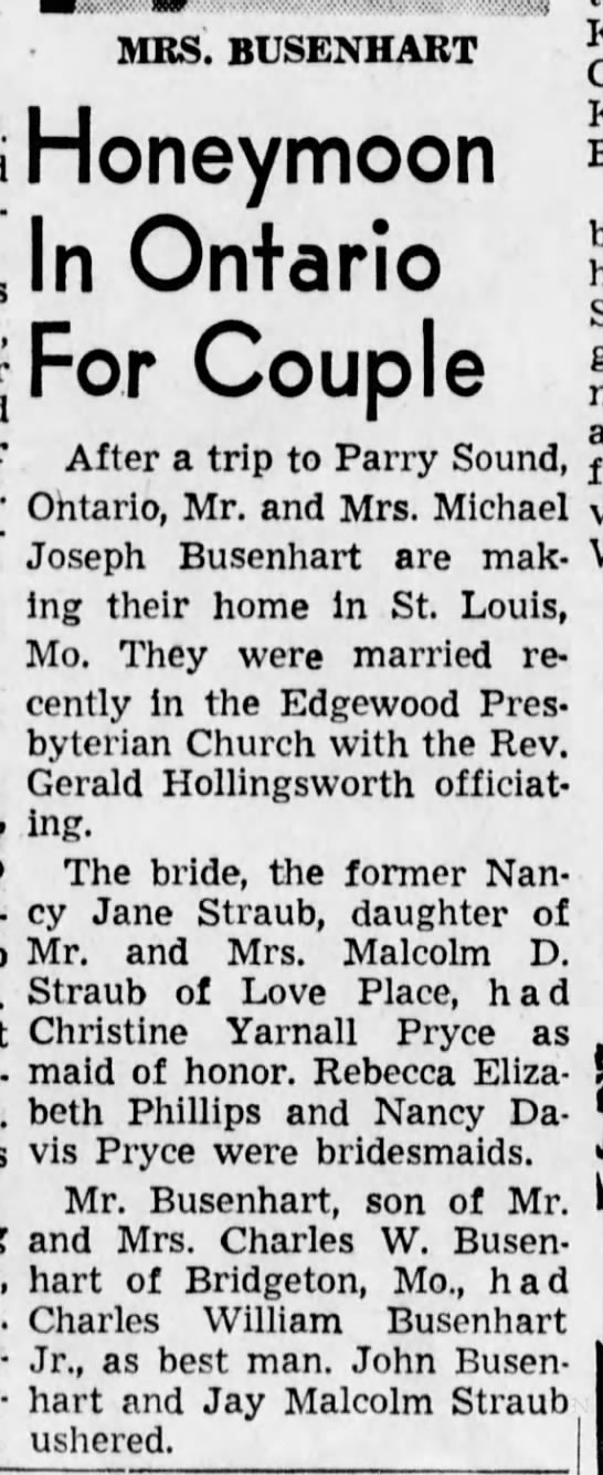 Michael Joseph Busenhart Nancy Jane Straub Marriage - The bride, the former Nan-business Nan-business...