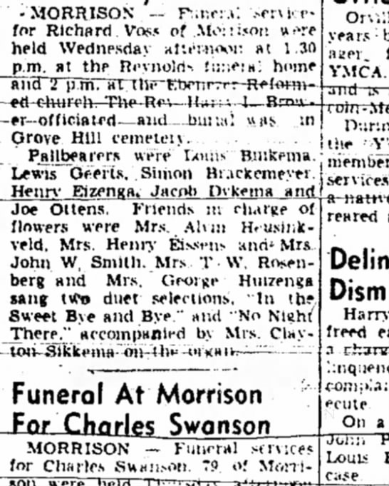 Joe Ottens, Pallbearer, Sterling Daily Gazette (Sterling, Illinois), 2 August 1951, Page 2 - •MORRISON . — P.r.e:.*: .-e:\KC- for Richard...