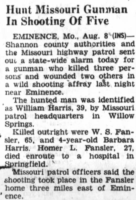 shooting in Eminence - Hunt Missouri Gunman In Shooting Of Five...
