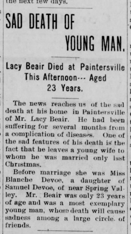 1903 Lacy (or Lacey) Beair (1880-1903) obituary - the next few days. SAD DEATH OF YOUNG MAN j to...