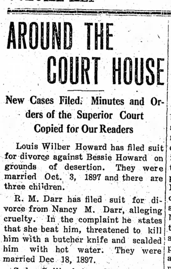 RM Darr divorce 1910 - New Cases Filed.' Minutes and Orders of the...