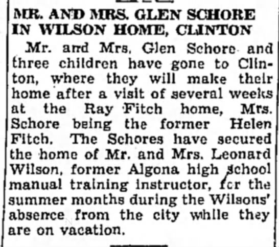 Schores in Wilson home - MR. AND AIRS. GLEN SCSHORE IN WILSON HOME,...
