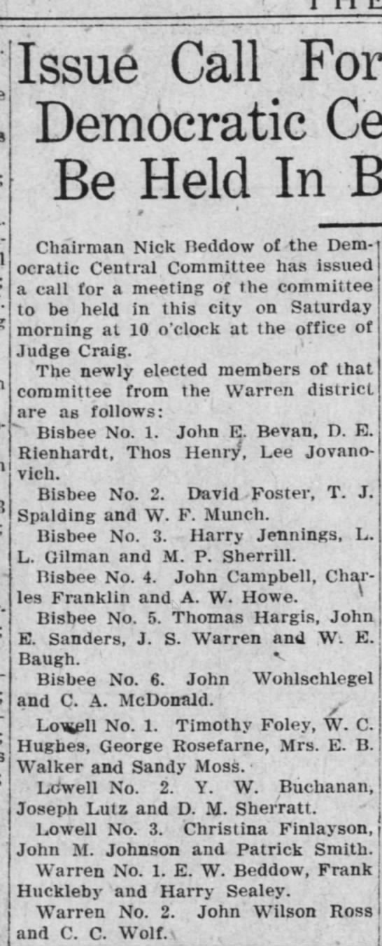 Bisbee Daily Review, 22 September 1922, page 6 - Issue Call For Democratic Be Held In Chairman...