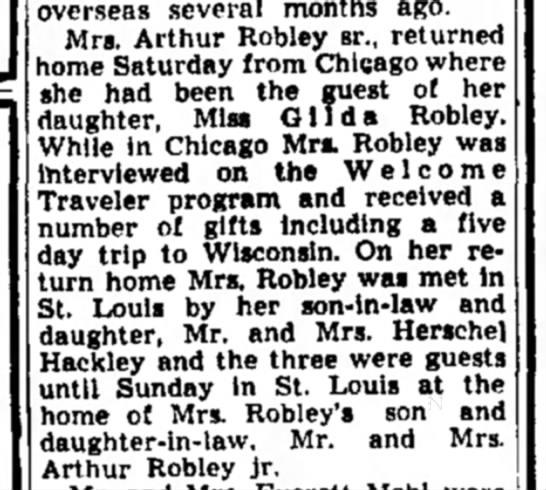 Mrs. Arthur Robley, Sr. - on Welcome Traveler program-Alton Evening Telegraph-p.12-1 Oct 1952 - overseas several months ago. Mrs. Arthur Robley...