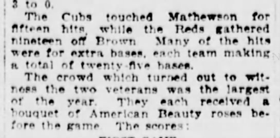 "- 3 to 0, ' ""Die Cubs touched Mathewson for ,..."