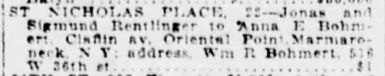 NY SUN 7 May 1917 Mon p.7 - ... ST NICHOLAS PLACi:, 77 .lona. and Flamund...