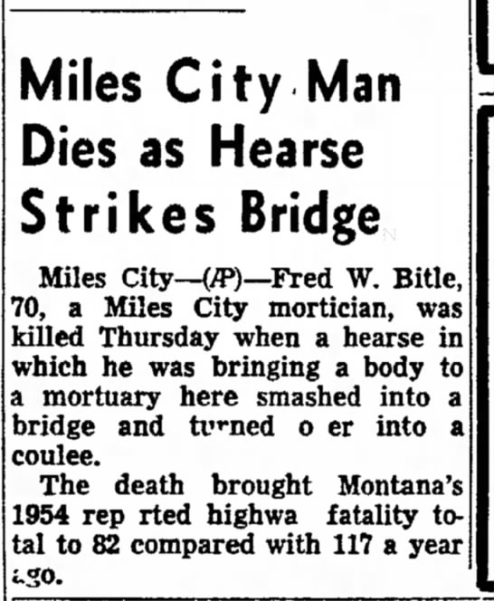 The Independent Record (Helena, Montana) 9 July 1954, Page 17 - traffic and Miles City Man Dies as Hearse...