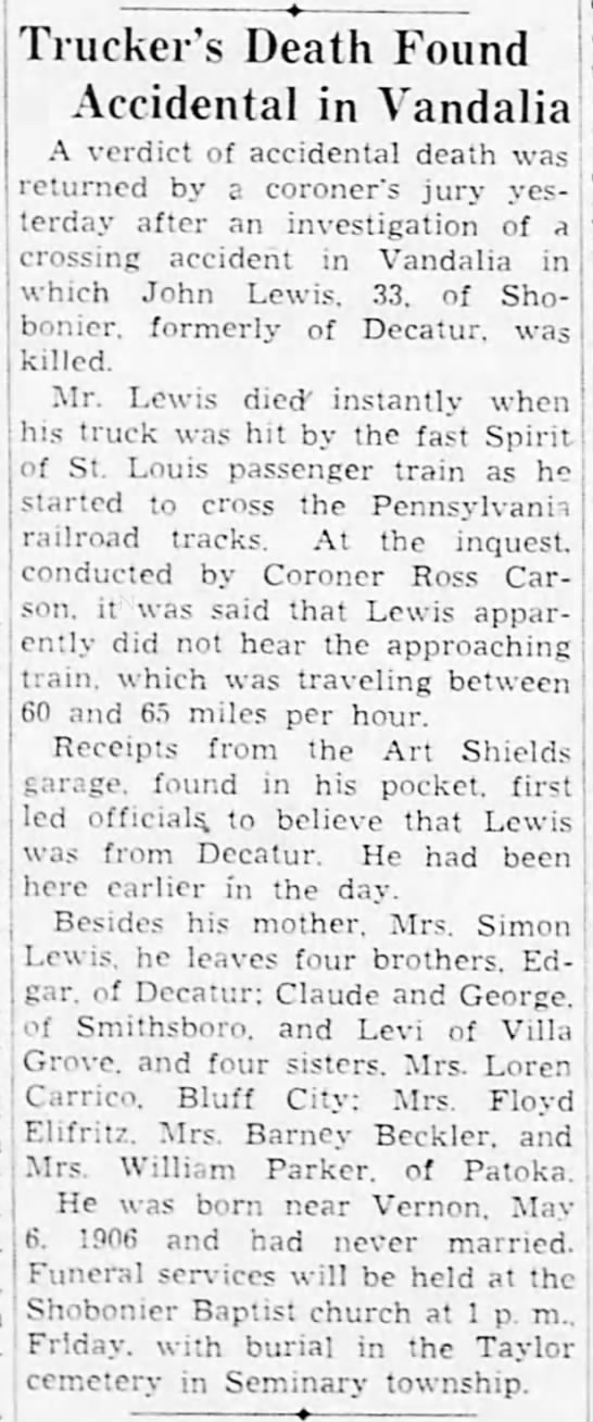 John Lewis Wreck, Death, and Burial - Truckers Death Found Accidental in Vandalia A...