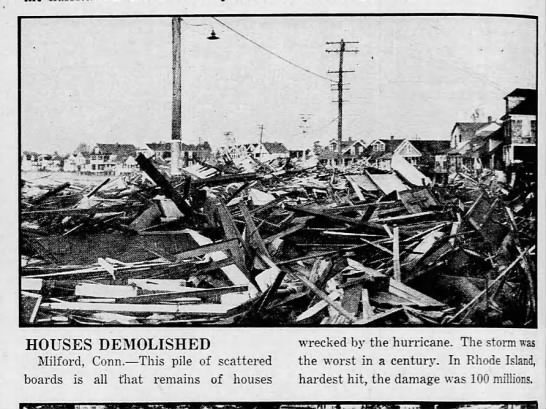 Houses in Connecticut totally destroyed by 1938 hurricane - f IT; HOUSES DEMOLISHED wrecked by the...