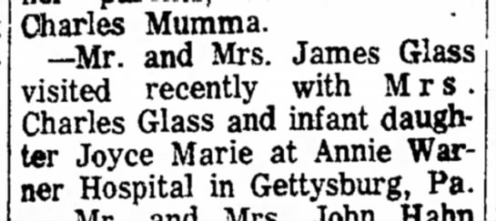 Uncle Charles? - Charles Mumma. --Mr. and Mrs. James Glass...