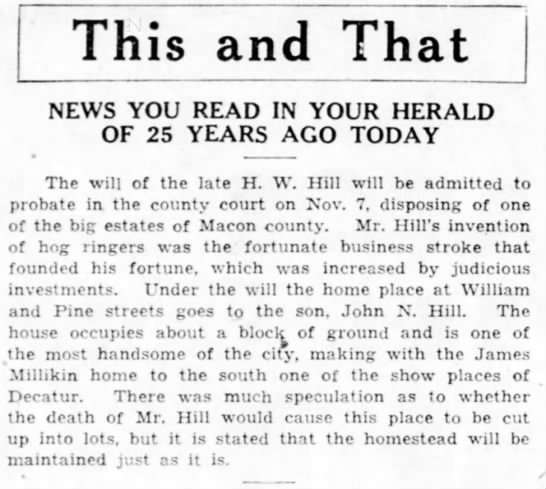 MILLIKIN,JAMES HOME_Hill'sDeathImpact_TheDecaturHerald,29OCT,1931,Thursday p6 - This and That NEWS YOU READ IN YOUR HERALD OF...