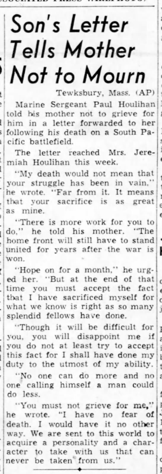 WWII letter home: 1944 - Son's Letter Tells Mother Not to Mourn...