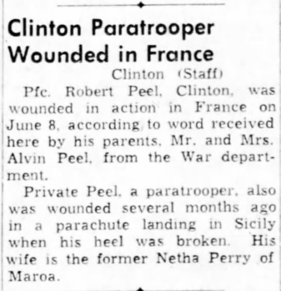 - Clinton Paratrooper Wounded in France Clinton...