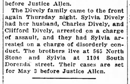 Diveley family arrested Decatur 1927 - 24 was was 8:22 Penn before Justice Allen. The...