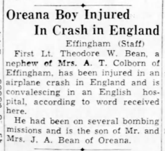 1944_0722_Bean, Theodore W. - Oreana Boy Injured In Crash in England...