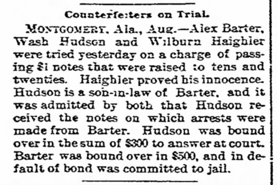 The News, Frederick, MD10 Aug 1894 - Conct«rre:t«rx on Trial. GOMEsr. Ala.,...