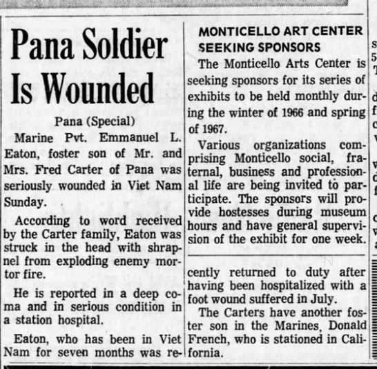 Emmanuel Lloyd Eaton - Pana Soldier Is Wounded Pana (Special) Marine...