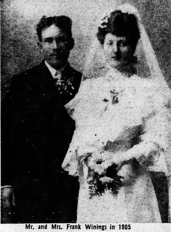 - i?h . . . -1 -1 Mr. and Mrs. Frank Winmes in 1905