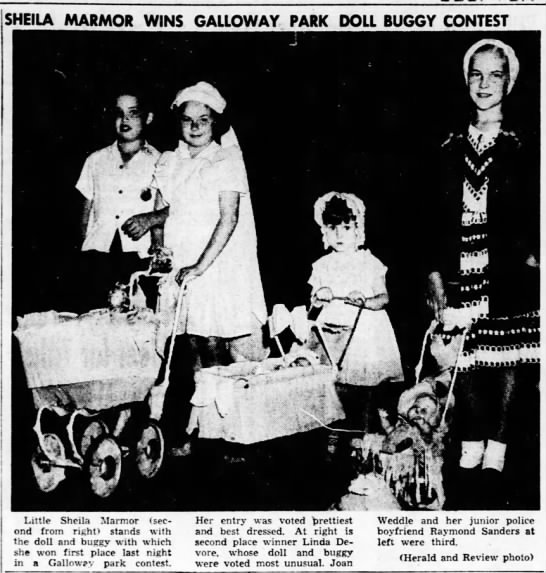 Sheila Joann Marmor wins Doll Buggy Contest.  Decatur Herald, July 24, 1948 - SHEILA MARMOR WINS Little Sheila Marmor (second...