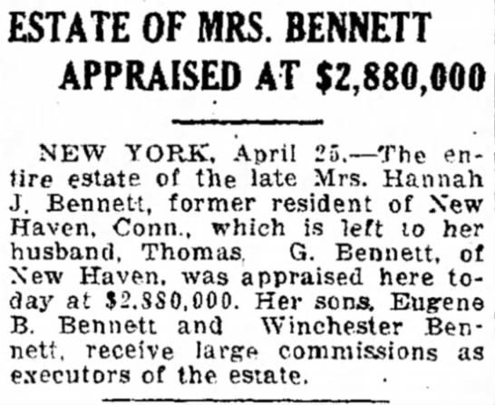 WB4 - of ESTATE OF MRS. BENNETT APPRAISED AT...
