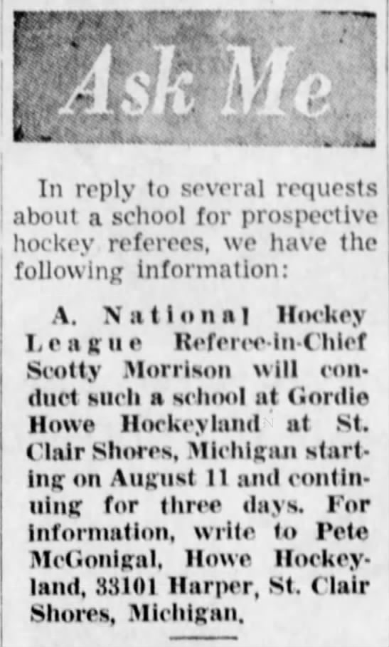 Hockey Referee School at Gordie Howe Hockeyland - ' f is. : In reply to several requests about a...