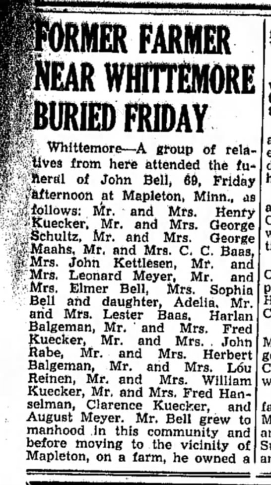 bell funeral 1943 - FARMER WHIHEMORE BURIED FRIDAY i •*...