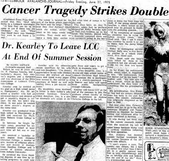Ricky Head/Grandmother Faherty Cancer 1975 pt 2 - 12-8—LUBBOCK AVALANCHE-JOURNAL—F.iday Evening,...