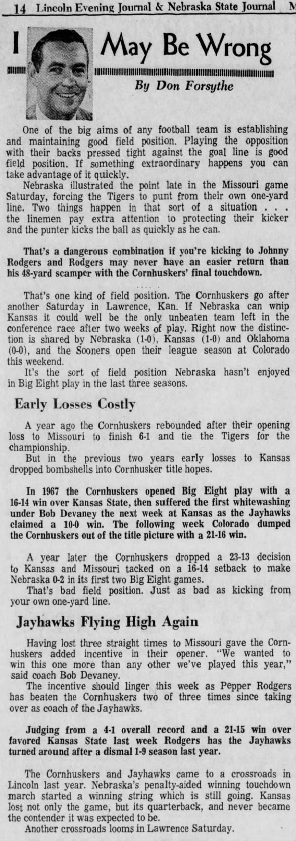 1970.10 Forsythe column, Kansas week Monday