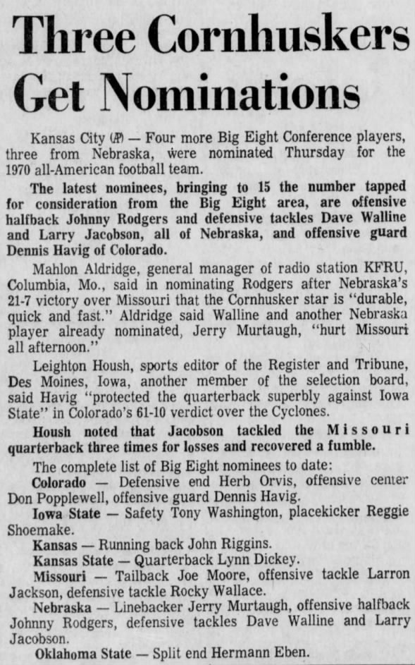 1970.10.15 All-America nominees