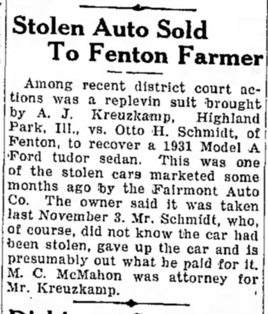 4 May 1933 - Kossuth County Advance (Algona, IA), pg. 4 - Stolen Auto Sold To Fenton Farmer Among recent...