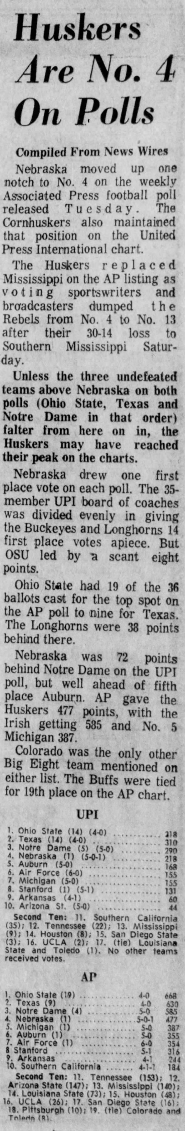 1970.10.20 College football polls, post-Kansas