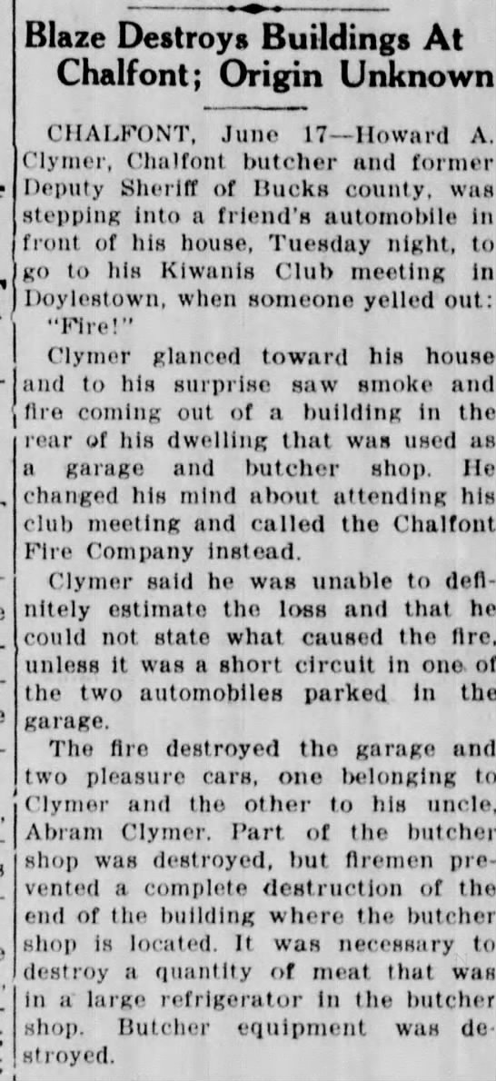 1937 Fire at Howard Clymer's - Blaze Destroys Buildings At Chalfont; Origin...
