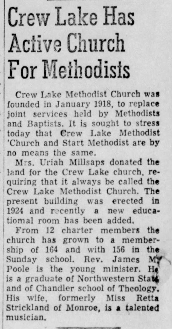 Crew Lake Has Active Church For Methodists