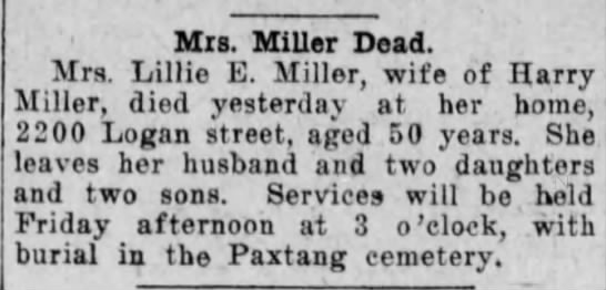 Death of Lillie Beil Miller - Mis. MiUer Dead. Mrs. Lillie E. Miller, wife of...