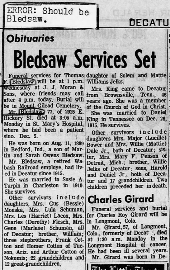 Thomas Franklin Bledsaw 1966 Obituary - be j ERROR: Should Bledsaw. DECATUR mm...