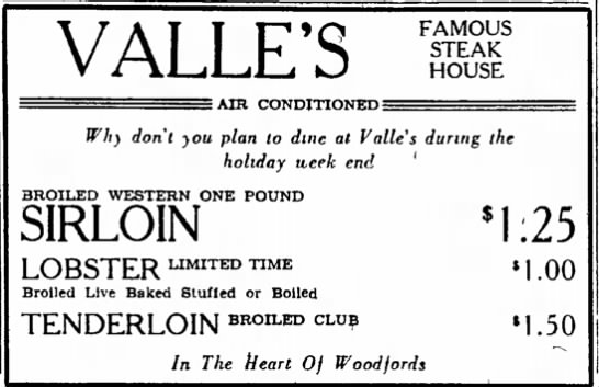 Valle's Ad MAy 28, 1949 - fun VALLE'S FAMOUS STEAK HOUSE ·AIR...
