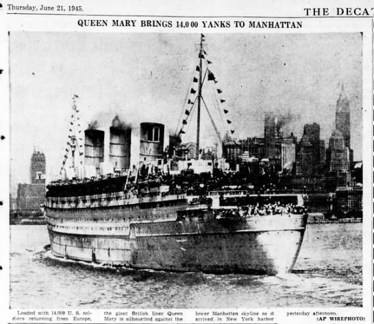 - THE QUEEN MARY BRINGS 14,0 00 YANKS TO...
