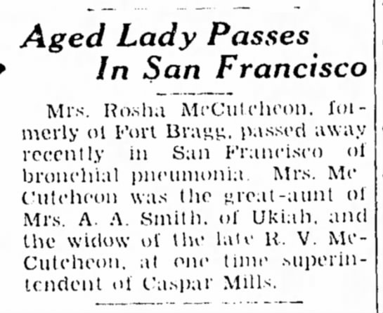 Rosha McCutcheon obit 1938pd - Aged Lady Passes In San Francisco Mrs. Ro.sh.i...