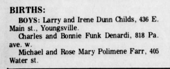 5/15/1971 steve denardi birth - BIRTHS: BOYS: Larry and Irene Dunn Childs, 436...