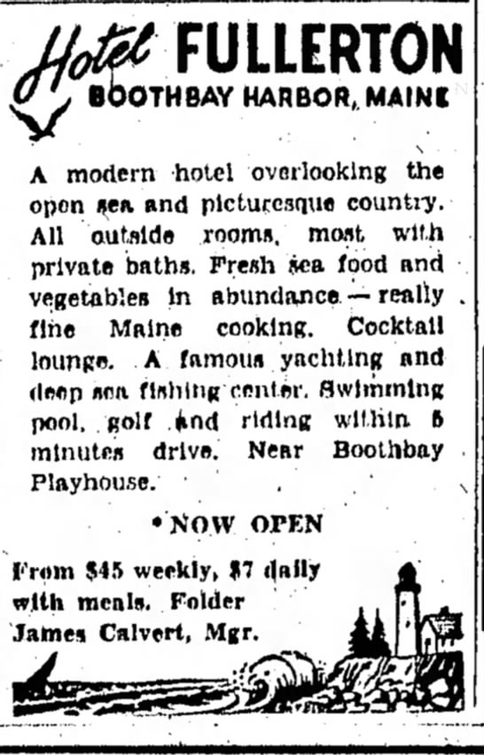 Hotel Fullerton Advertisement - Boothbay