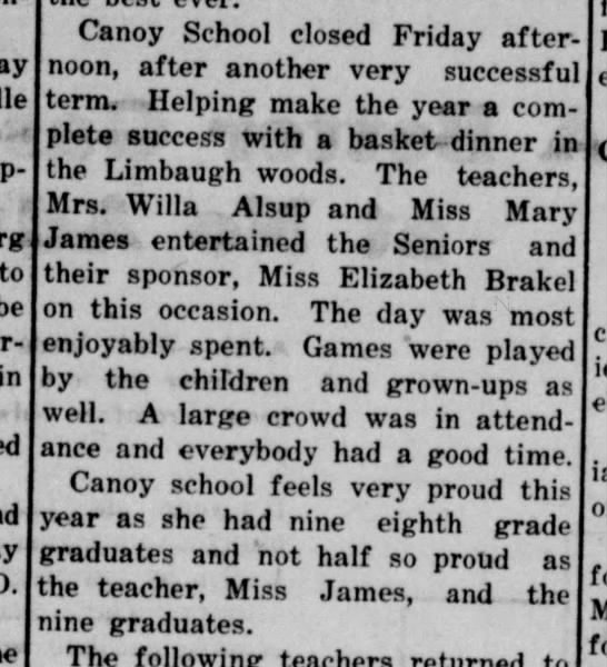 Canoy School has nine 8th grade graduates 1927 - the best ever. a Can°y School closed Friday...
