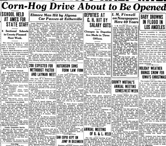 Corn Hog, page 1, 1/4/34 - _ 7 ! • ~ —— — 4 Sectional Schools in County...