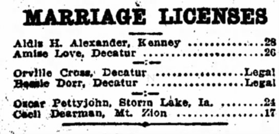 Daily Review Oct 27, 1910 Marriage of Oscar and Cecil Dearman Pettyjohn - MARRIAGE LICENSES Aldls H. Alexander, Kenney...